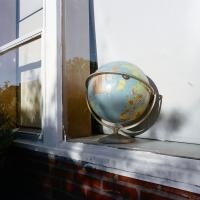 Globe in window of Markham Elementary School