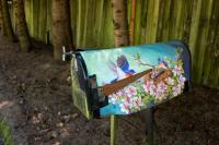 mailbox with blue birds painting