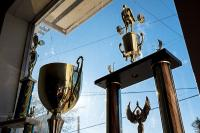trophies in window at Loprinzi's gym