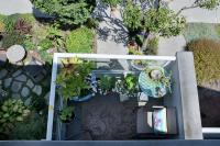 looking down from the upper deck of a condo