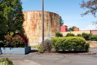water tank and Denny's sign