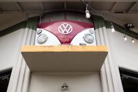 front of VW bus being used as a sign