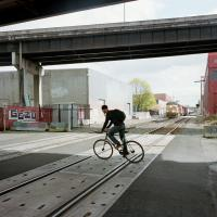 bicycle crossing tracks on SE 2nd ave